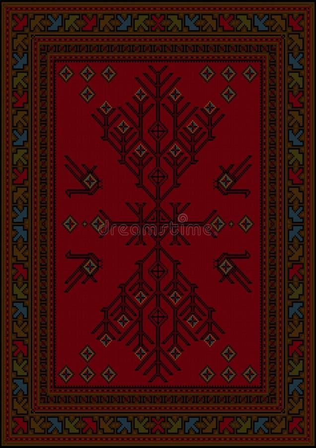 Teppich mit ethnischem kopiertem Baum und Vögel in den roten und kastanienbraunen Schatten lizenzfreie abbildung