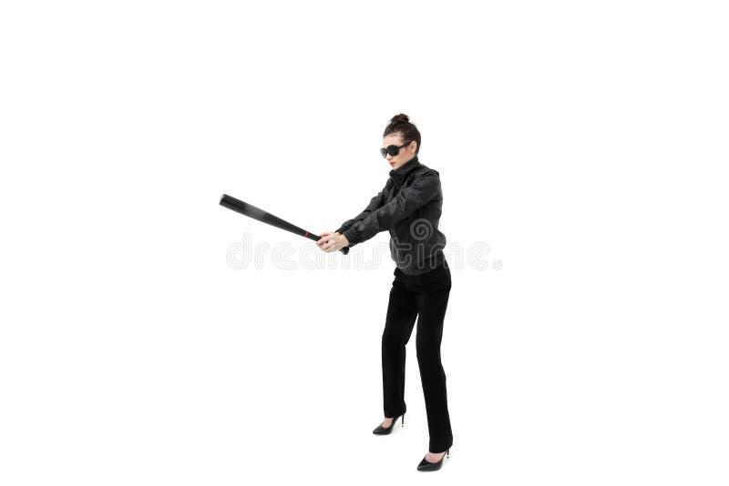 Teppista della donna isolato sul bianco fotografia stock