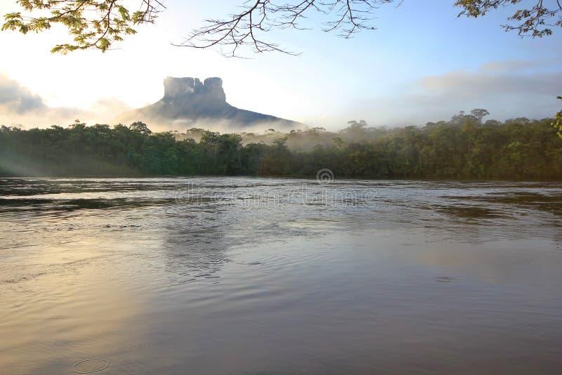 Tepui πέρα από Carrao τον ποταμό, Βενεζουέλα στοκ φωτογραφία