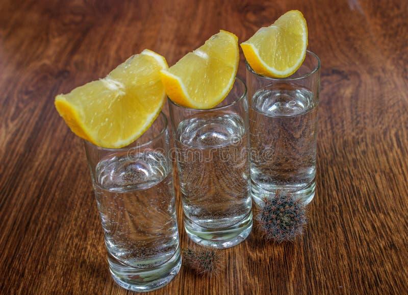tequila съемки лимона стоковые фотографии rf