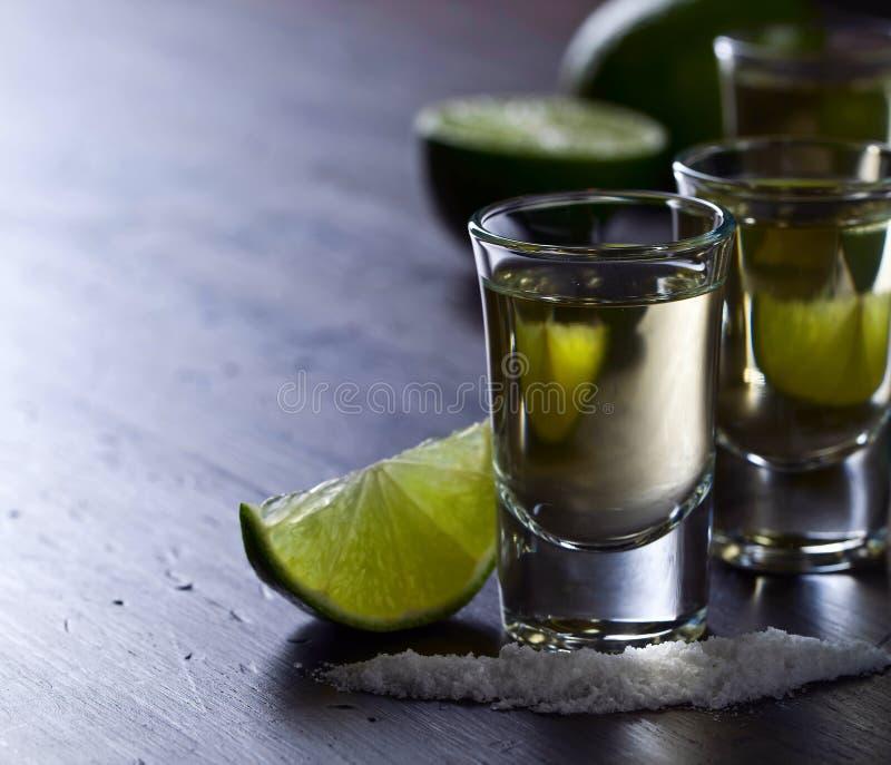 Tequila с известкой и солью стоковое фото rf