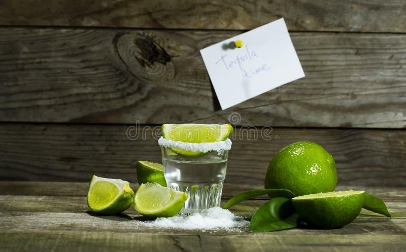 Tequila с известкой и солью стоковые фотографии rf