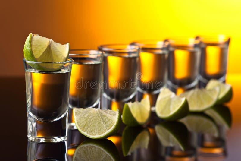 Tequila с известкой стоковое изображение