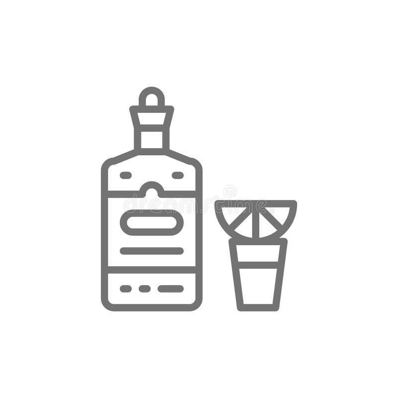 Tequila, alcohol, hete drank met het pictogram van de citroenlijn stock illustratie