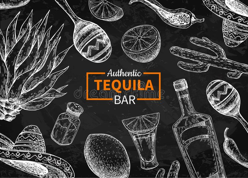 Tequila bar vector blackboard label. Mexican alcohol drink drawi royalty free illustration