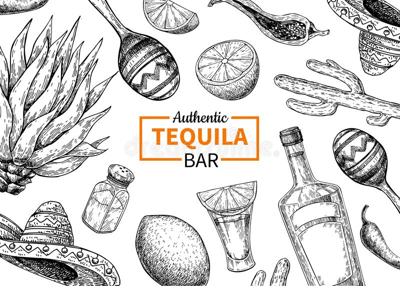 Tequila bar vector label. Mexican alcohol drink drawing. Bottle. Shotglass, salt shaker, lime, agave frame sketch. Engraved illustration for restaurant menu stock illustration