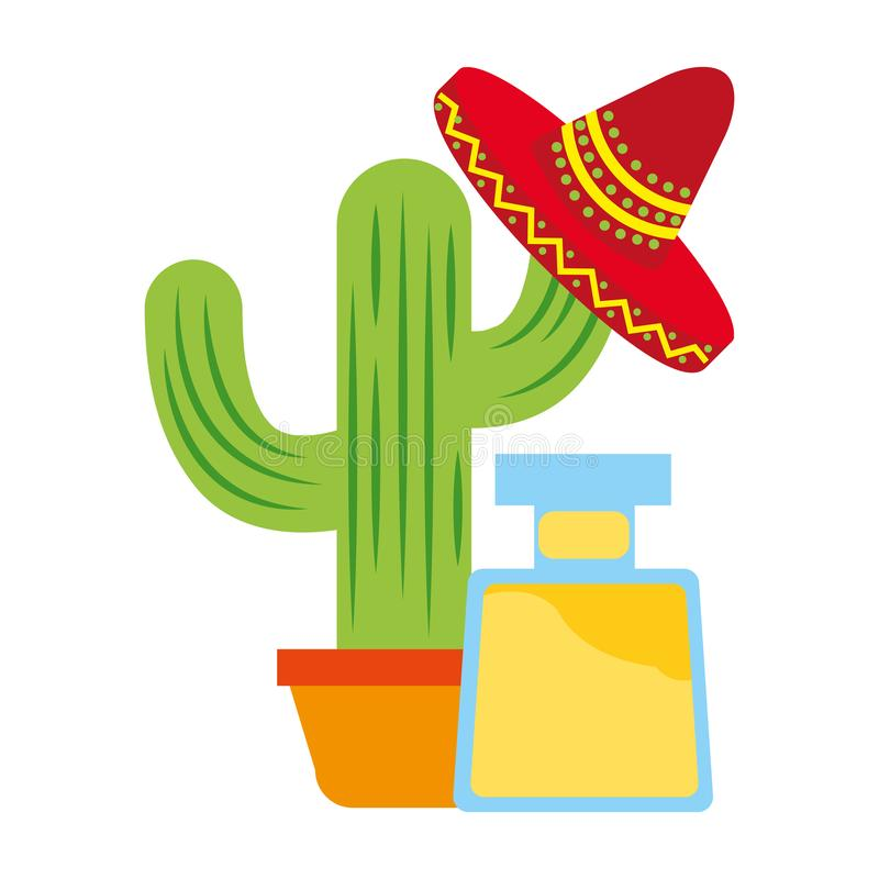 Tequila bottle cactus and hat drink mexican. Vector illustration royalty free illustration