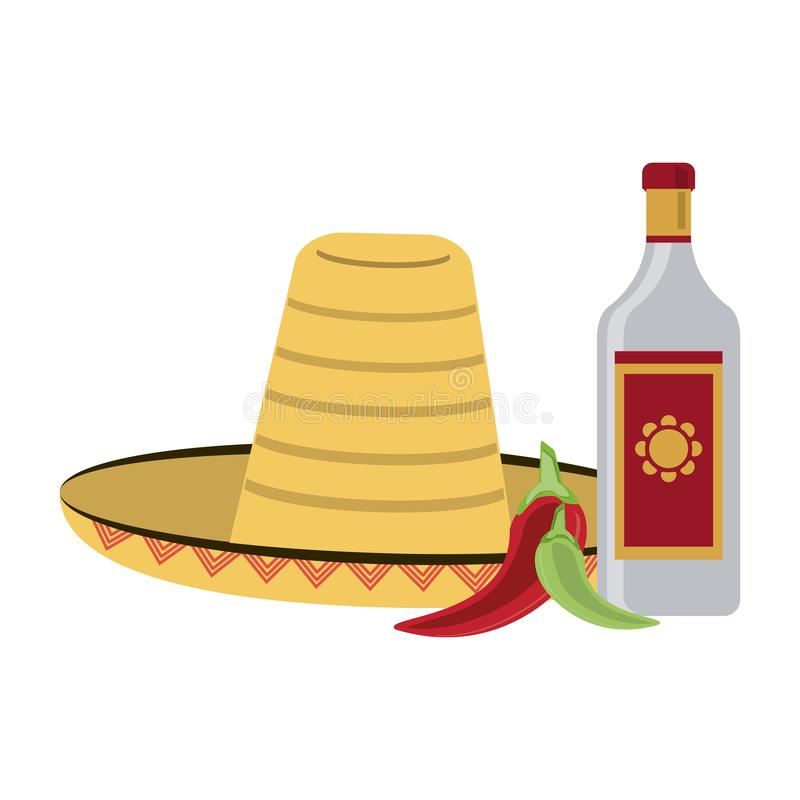 Tequila mexican drink. Tequila bottle with chilli and mexican hat vector illustration graphic design vector illustration