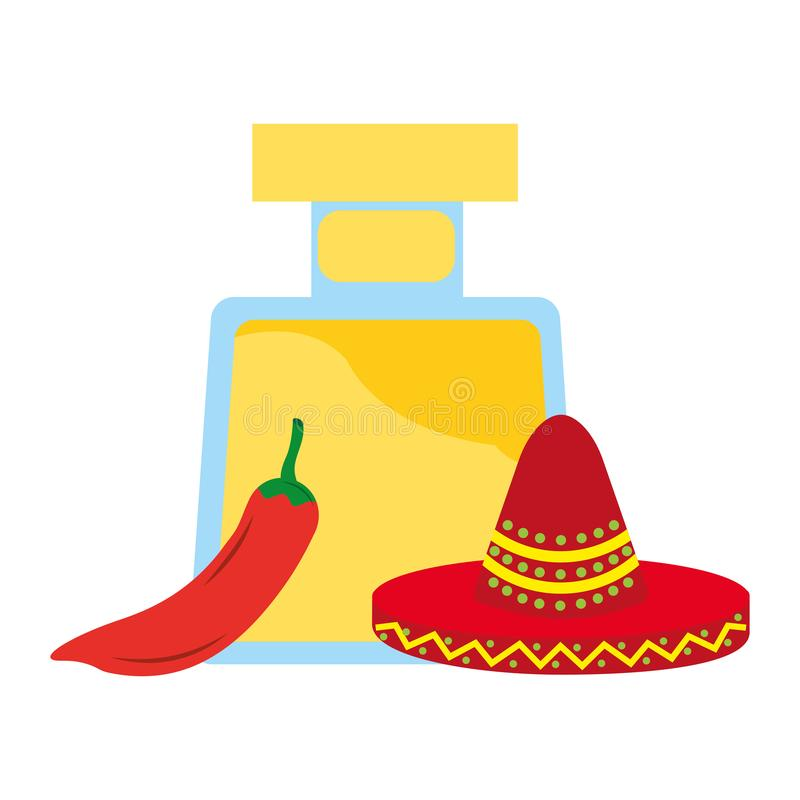 Tequila bottle drink chili pepper and hat mexican. Vector illustration royalty free illustration
