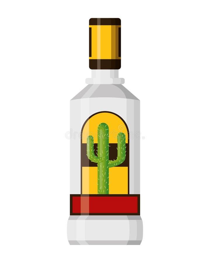 Tequila bottle liquor. On white background vector illustration stock illustration