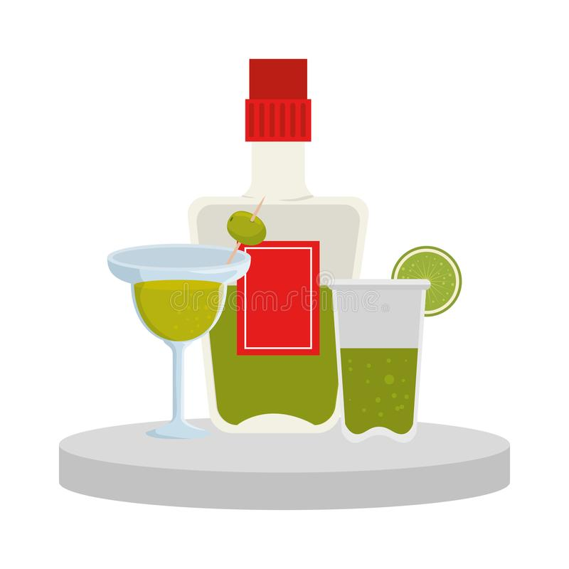 Tequila bottle and margarita cocktail. Vector illustration design royalty free illustration