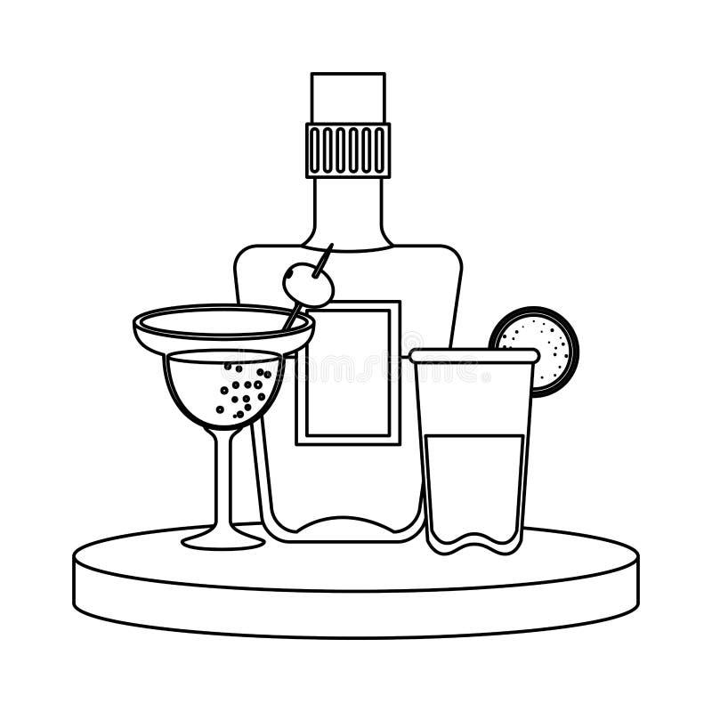 Tequila bottle and margarita cocktail. Vector illustration design stock illustration