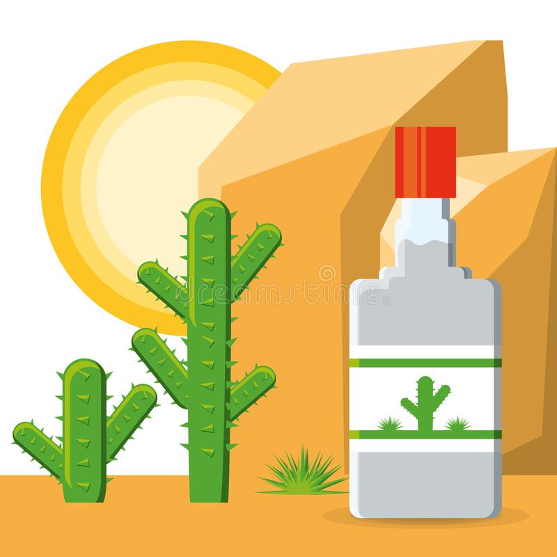 Tequila bottle mexican traditional drink vector illustration