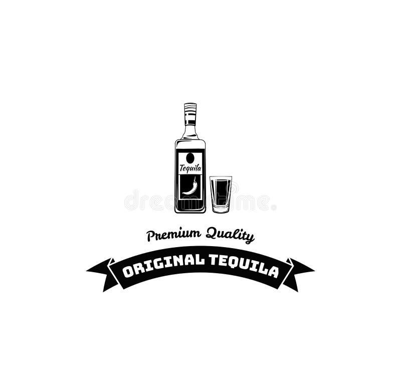 Tequila bottle, shot. Alcoholic beverage, Alcohol drink. Dar pub menu design. Vector. stock illustration