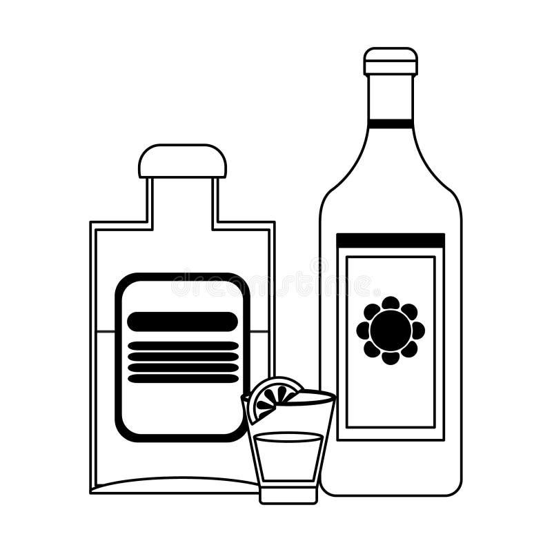 Tequila butelki i strzelający z cytryną w czarny i biały royalty ilustracja