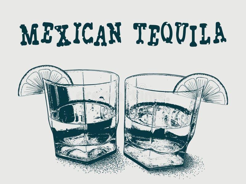 Tequila con el ejemplo dibujado mano del vector de la cal libre illustration