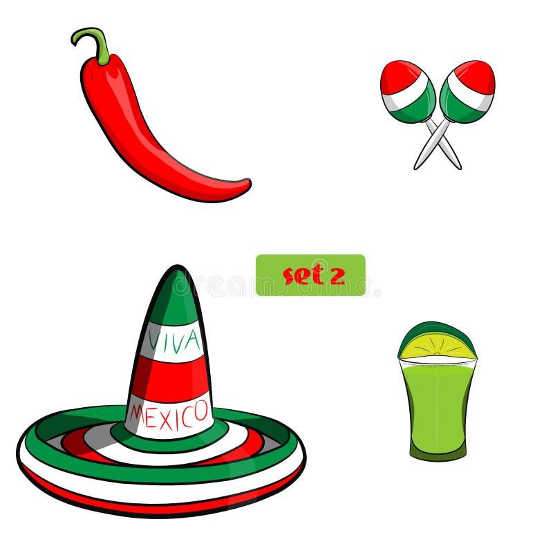 Tequila con il sombrero, il jalapeno ed i maracas della calce, raggruppati per la pubblicazione facile Nessun forme o percorsi ap illustrazione vettoriale