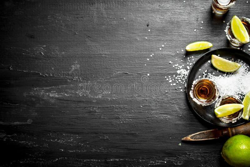 Tequila con la sal y la cal foto de archivo