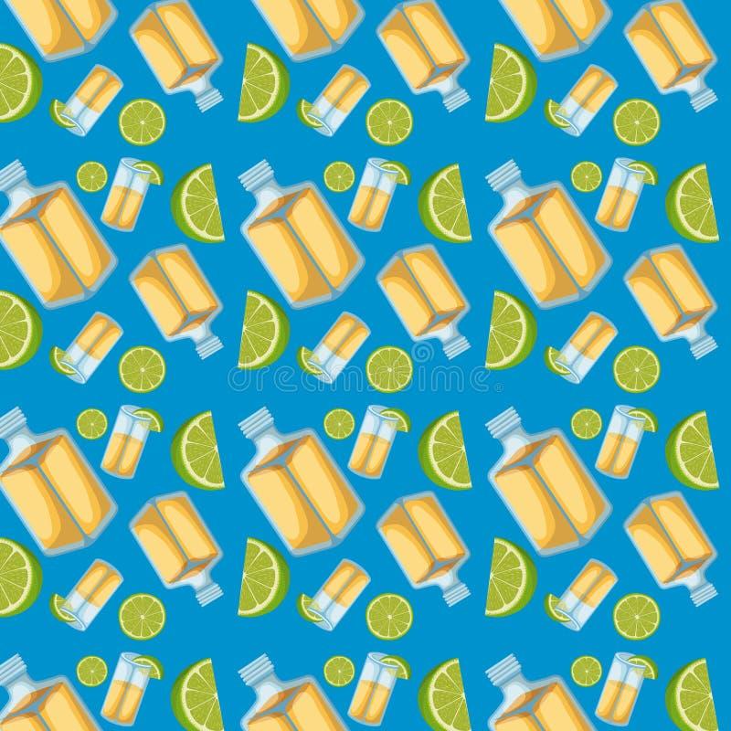 Tequila cytryna i butelki pokrajać wzór w błękitnym tle royalty ilustracja