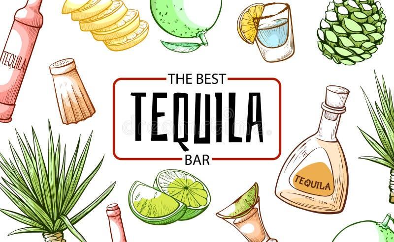 Tequila det bästa buffé- och dryckbanret stock illustrationer