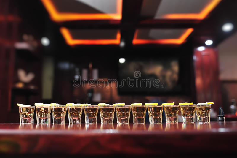 Tequila drink shots on a bar royalty free stock photos