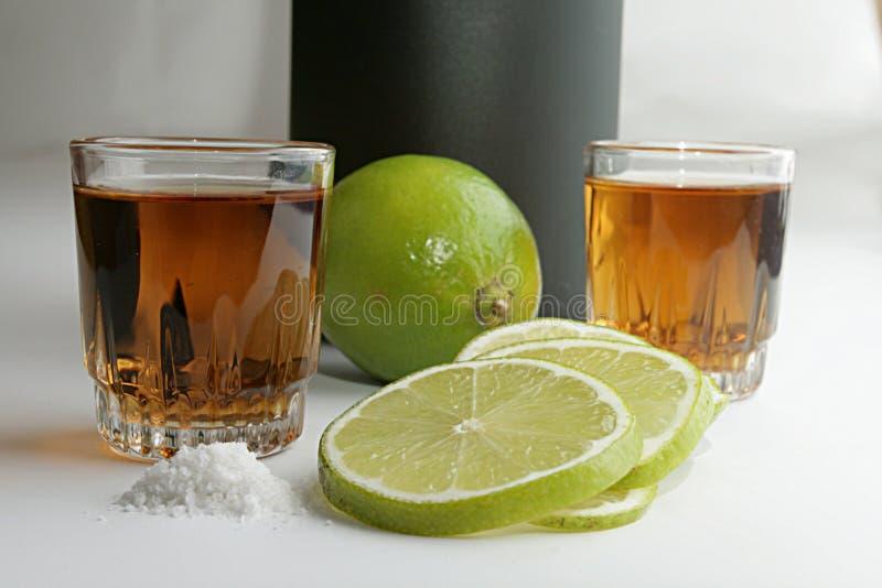 Tequila en kalk royalty-vrije stock foto