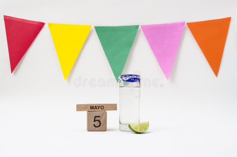 Tequila et guacamole pour la c?l?bration de Cinco de Mayo images libres de droits