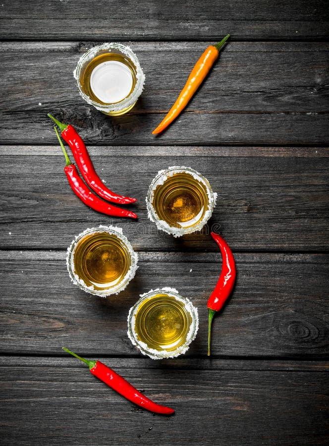 Tequila et piment image stock