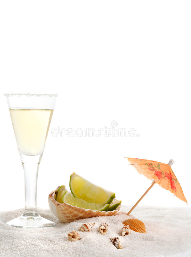 Tequila glass on beach royalty free stock images