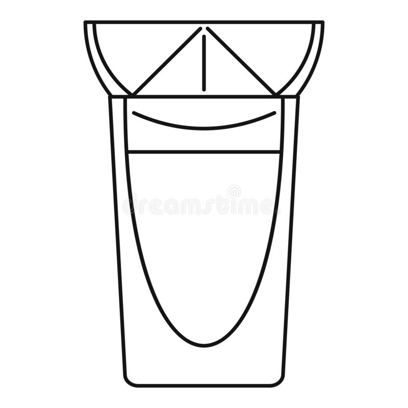 Tequila glass icon, outline style royalty free illustration