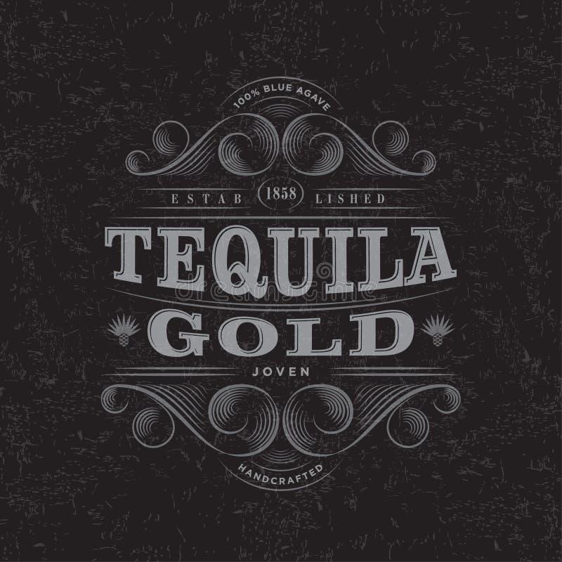 Tequila Gouden Embleem Tequila Gouden etiket Premie Verpakkingsontwerp Het van letters voorzien Samenstelling en Tierelantijntjes vector illustratie