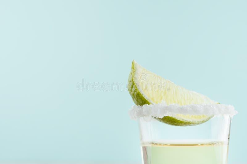 Tequila hecho en casa de la bebida del tiro del verano con la cal de la rebanada, sal del borde en el fondo azul en colores paste fotografía de archivo libre de regalías