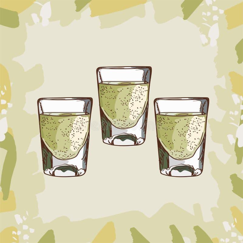 Tequila huku koktajlu ilustracja Alkoholiczna ręka rysujący klasyka baru napoju wektor Wystrzał sztuka ilustracja wektor