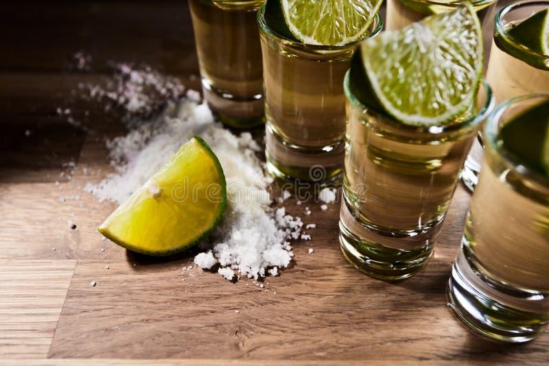 Tequila, kalk en zout royalty-vrije stock afbeelding