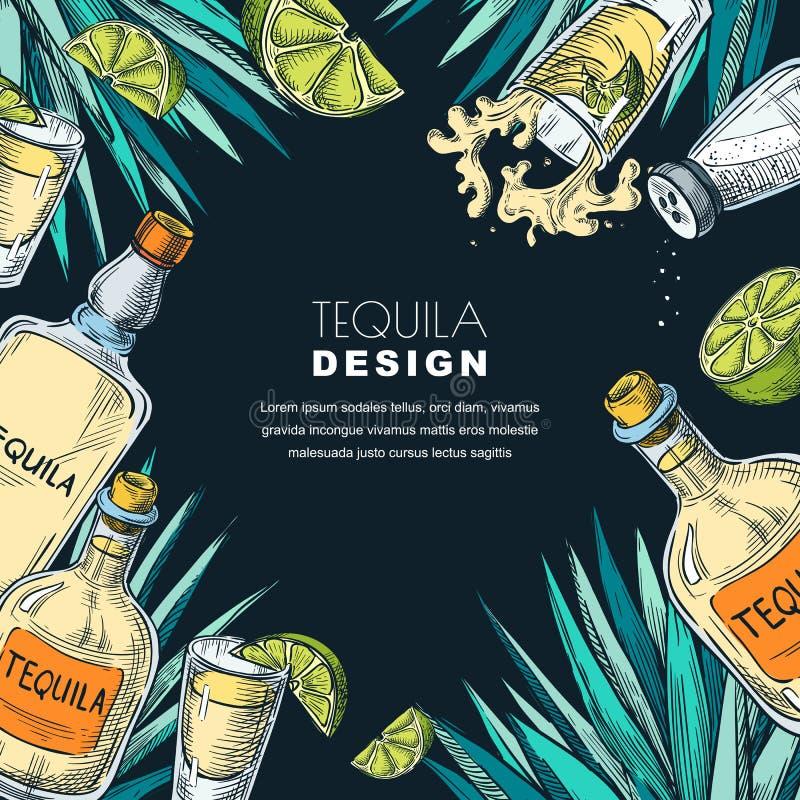 Tequila label design. Sketch vector illustration of bottles, shot glass, lime and agave. Bar menu black background. Tequila label design template. Sketch vector stock illustration