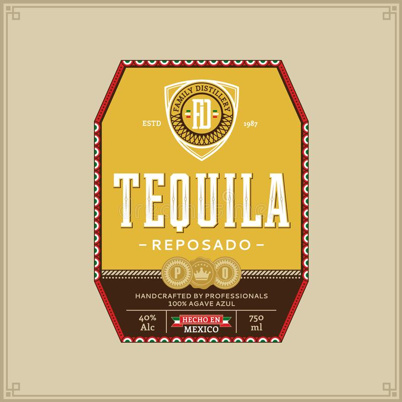Tequila Label Template Stock Vector. Illustration Of