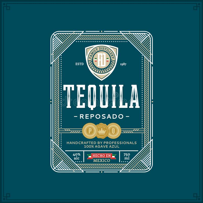 Tequila Gold Logo. Tequila Gold Label. Premium Packaging