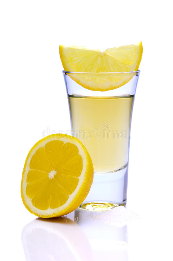 Tequila with lemon stock image