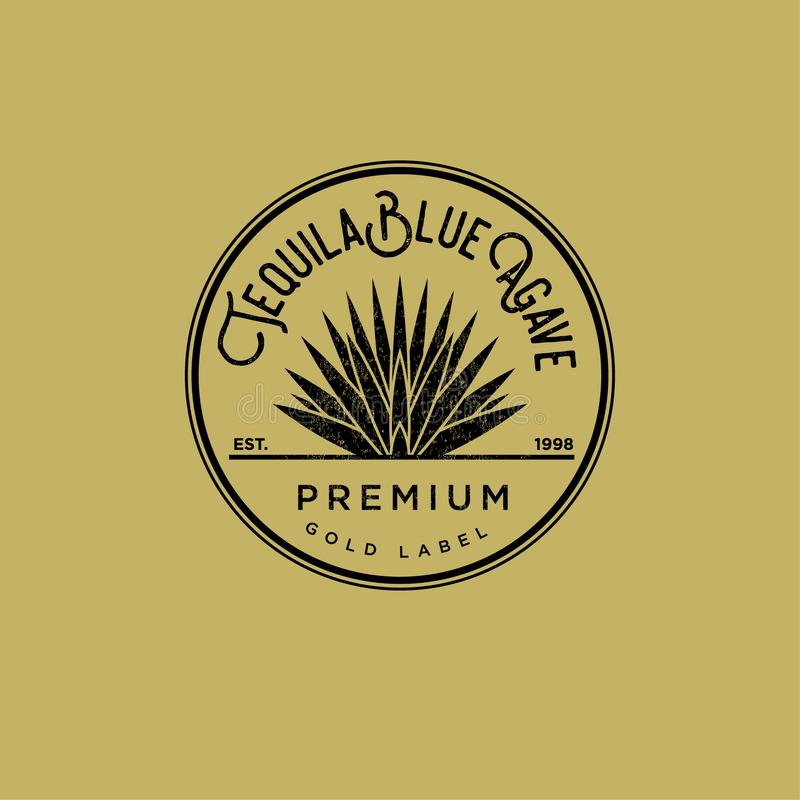 Tequila logo. Gold tequila label. Blue agave premium tequila. Agave in a circle on a yellow background. royalty free illustration