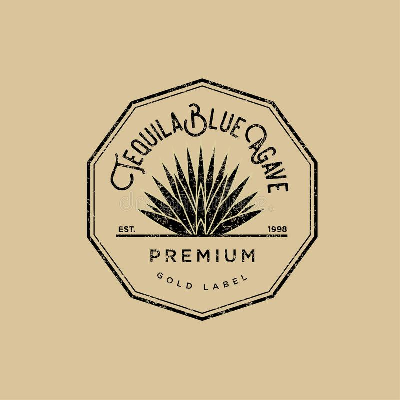 Tequila logo. Gold tequila label. Blue agave premium tequila. royalty free illustration