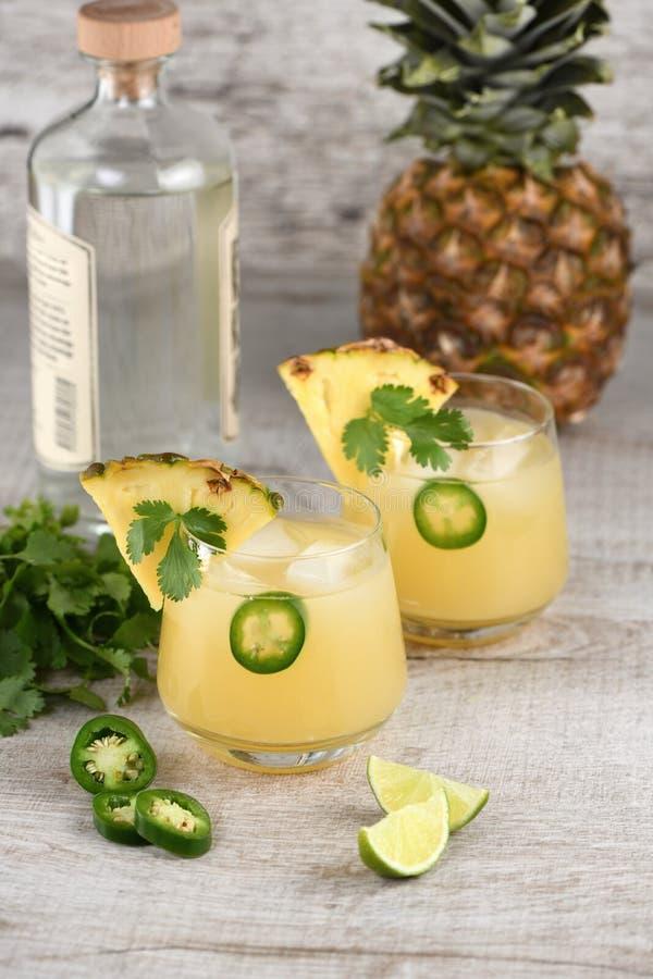 Tequila met ananas en jalapeno stock foto