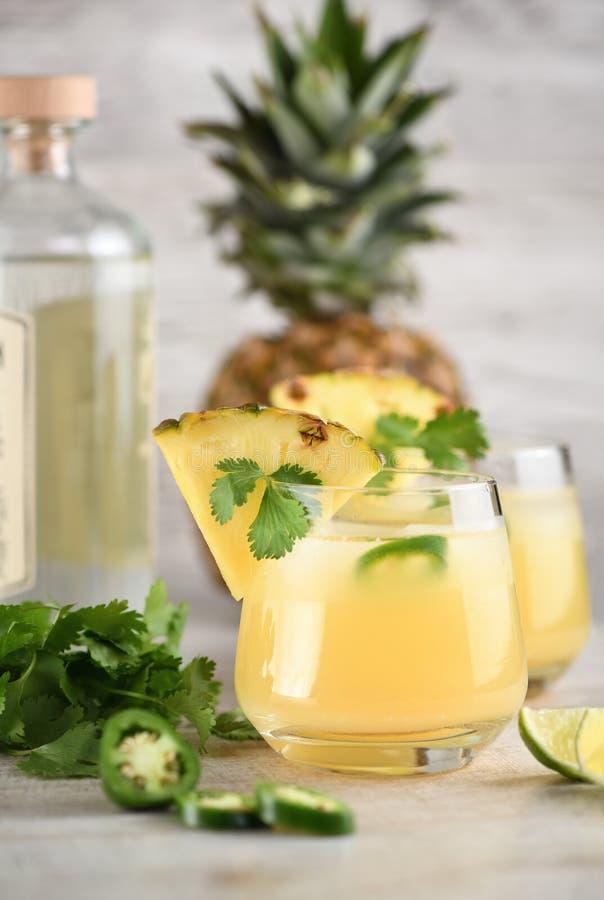 Tequila met ananas en jalapeno royalty-vrije stock fotografie