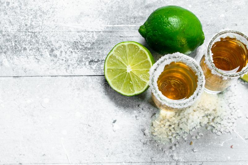 Tequila met verse kalk stock fotografie