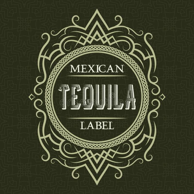 Tequila mexican label design template. Patterned vintage frame with text on pattern background royalty free illustration