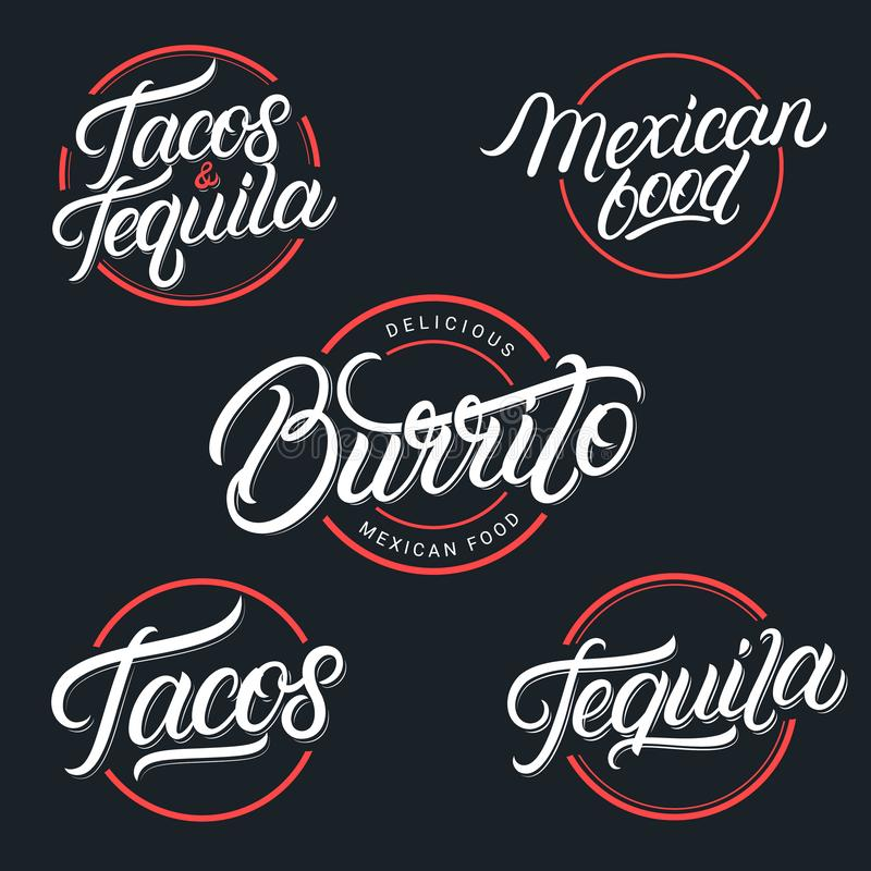 Tequila mexicano do alimento e da bebida, tacos, Burrito ilustração stock