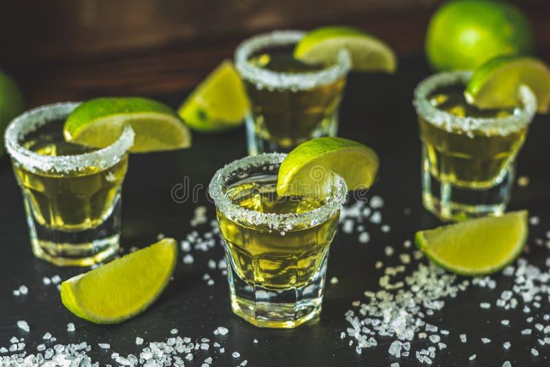 Tequila mexicano do ouro disparado com cal e sal fotografia de stock