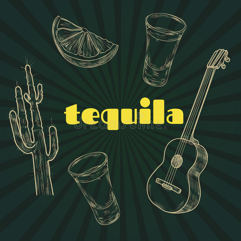 Tequila party items royalty free illustration