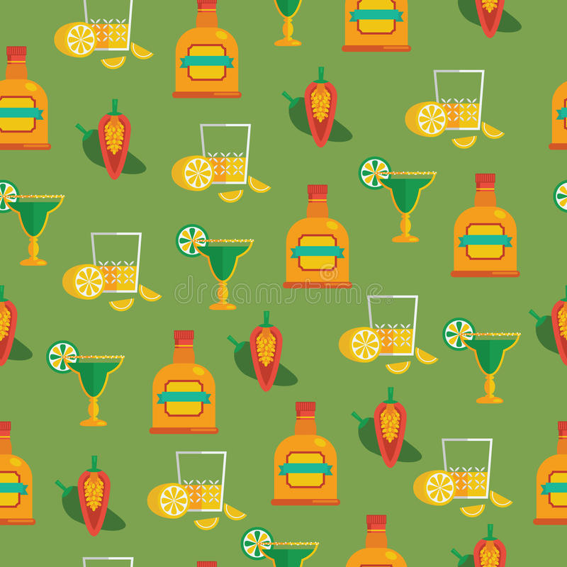 Tequila pattern. Seamless mexican pattern with tequila, margaritas and chilli peppers, with clipping path stock illustration
