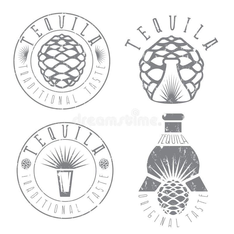 Tequila rocznika grunge set przylepia etykietkę agawę i butelki royalty ilustracja