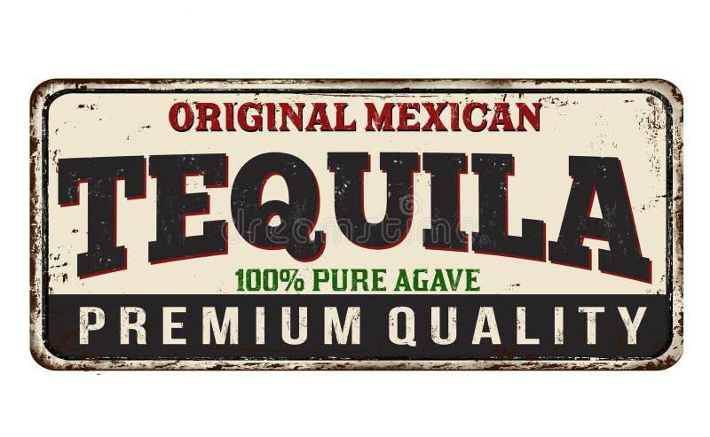 Tequila rocznika metalu ośniedziały znak royalty ilustracja